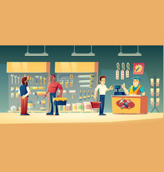 Customers tools store hardware construction shop vector