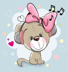 Cute cartoon dog with headphones vector