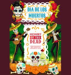 Day dead dia de los muertos party fiesta vector