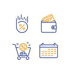Debit card loan percent and shopping cart icons vector