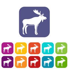 Deer icons set flat vector