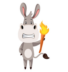 donkey with torch on white background vector image
