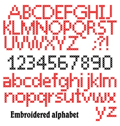 Embroidered alphabet vector image