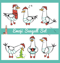 emoji seagull set with lighthouse part 1 vector image