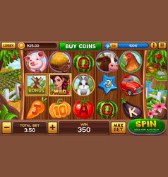 Farm slot game vector