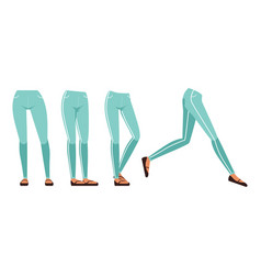 Female legs in jeans and shoes in various poses vector