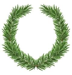 Fir wreath Green lush spruce branch Fir branches vector