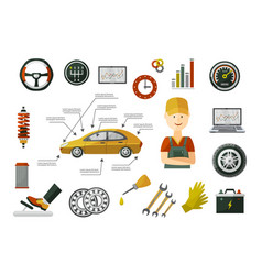 flat car service infographics objects set vector image