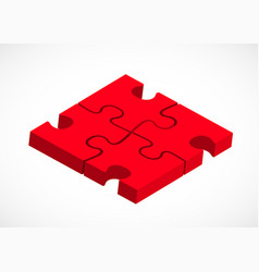 Four piece puzzle business solution concept vector