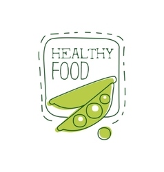 Fresh Vegan Food Promotional Sign With Peas And vector
