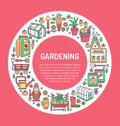 gardening planting and horticulture banner with vector image