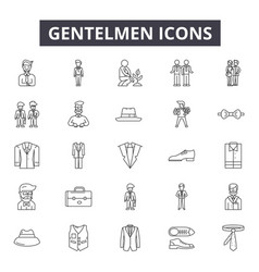 gentelmen icon line icons for web and mobile vector image