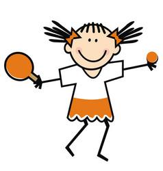 Girl ping pong sport vector