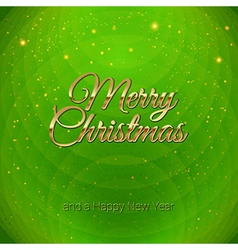 Golden Merry Christmas headline on green vector image