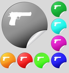 Gun icon sign set of eight multi colored round vector