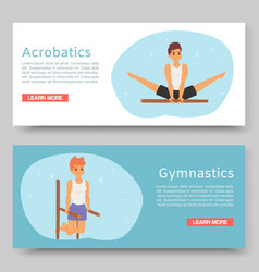 gymnastic training and acrobatics on horizontal vector image