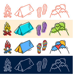 hand draw travel tent step mountain icon set in vector image