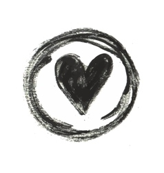 Hand drawn black ink heart stamp vector image