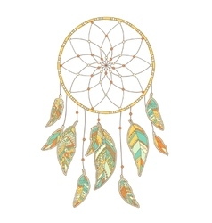 Hand drawn Dreamcatcher isolated on white vector image