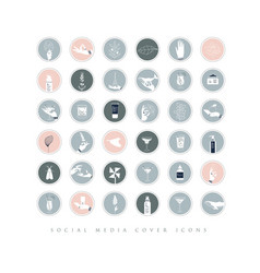 Hands and cosmetics social media cover icons gray vector
