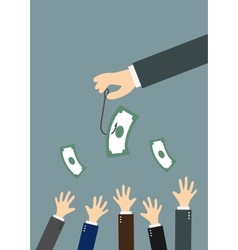 Hands reaching for money on a fishing hook vector image