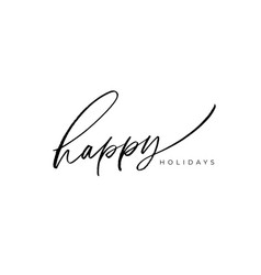 happy holidays brush lettering vector image