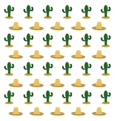 Hat and cactus background Mexico culture vector