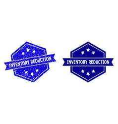 Hexagonal inventory reduction stamp with corroded vector
