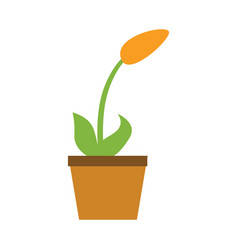 home flower pot icon flat style vector image