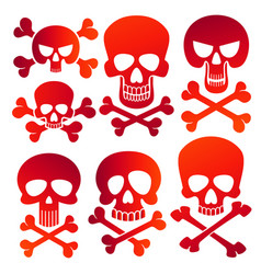 Human skulls danger colors skulls icons set vector