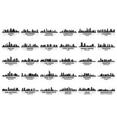 Incredible set usa city skyline vector