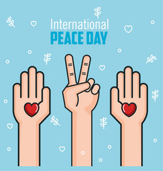 international peace day hands love heart victory vector image