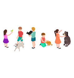 kids and pets pet care concept isometric vector image