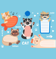 Kids text frame template with cute cartoon cats vector
