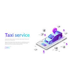 landing page taxi service online order car vector image
