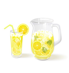 Lemonade in a jug and a glass vector