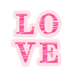 love composition of pink and striped letters vector image