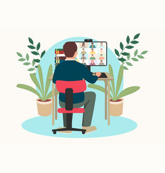 Man figure having video conference with group vector