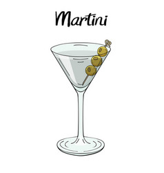 Martini cocktail with olives decorations for vector