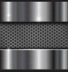 Metal stainless steel background with perforation vector