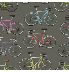 Multi colored bicycles seamless pattern vector