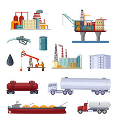 Oil exploration petroleum factory with platforms vector
