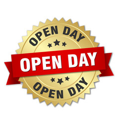 Open day round isolated gold badge vector