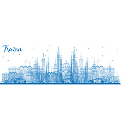 Outline kazan skyline with blue buildings vector