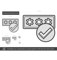 Password protection line icon vector