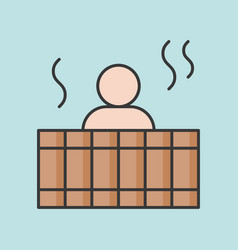 People soak warm water in wooden bathtub vector
