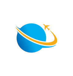 Plane world travel logo vector
