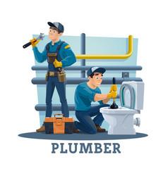 plumbing service workers unclogging toilet vector image