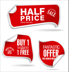 Price tag red set vector