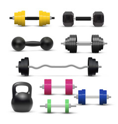 realistic dumbbell and kettlebell isolated vector image